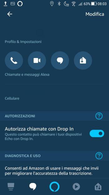 Amazon Alexa - Profilo & Impostazioni - DropIn Abilitato