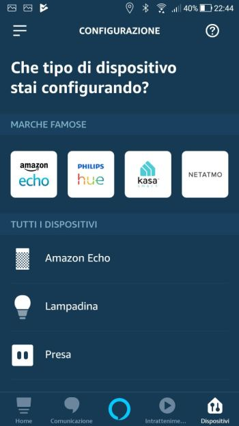 Amazon Alexa - App - Aggiungi Dispositivi - Marche