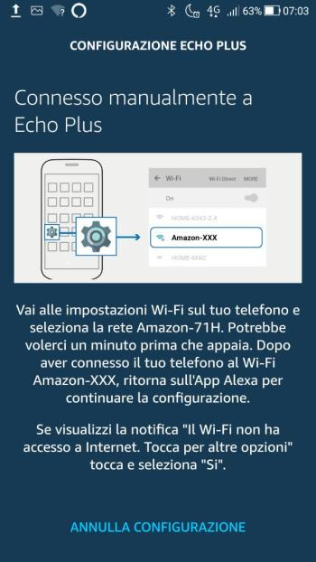 Amazon Echo - Configurazione Wi-Fi - Connessione manuale a Echo Plus