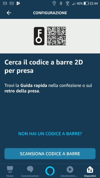 Amazon Alexa - App - Cerca il codice a barre 2D per presa