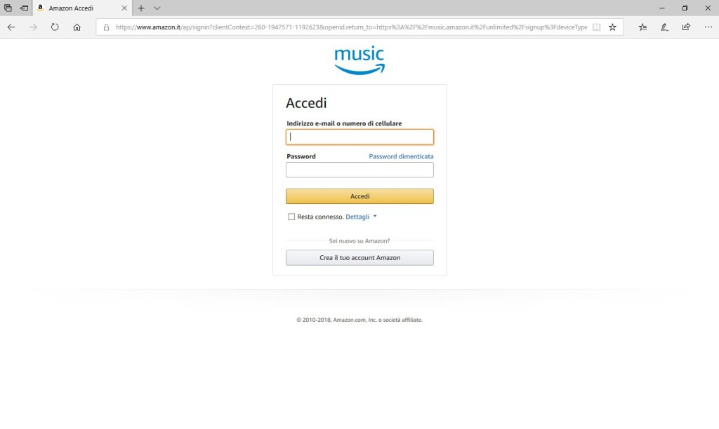 Amazon Music Unlimited - Accedi