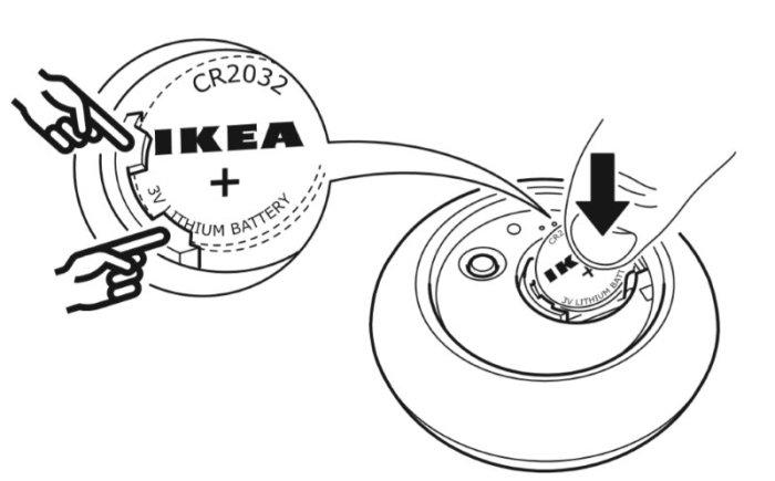 Ikea Tradfri - Telecomando - Inserimento batteria
