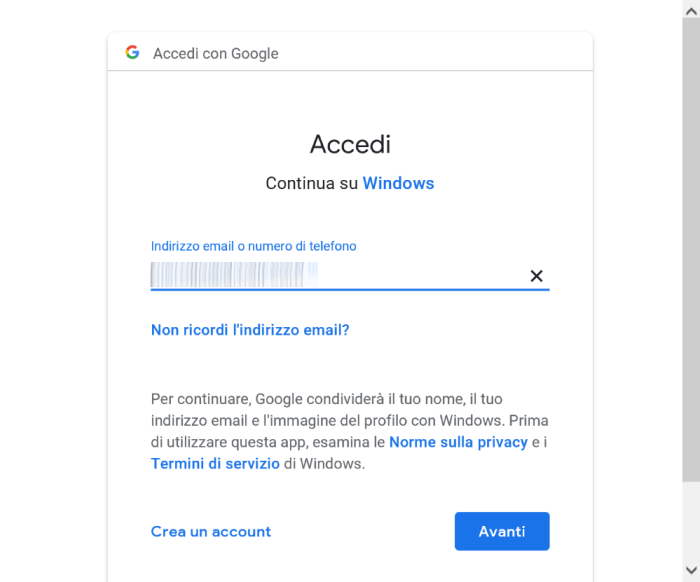 Google Home - Aggiungi Account - Google