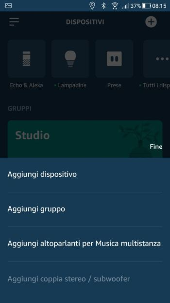 Amazon Alexa - App - Dispositivi - Menù contestuale