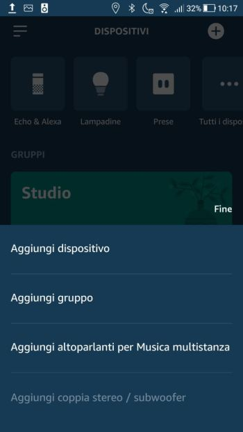 Amazon Alexa - App - Dispositivi - Menù