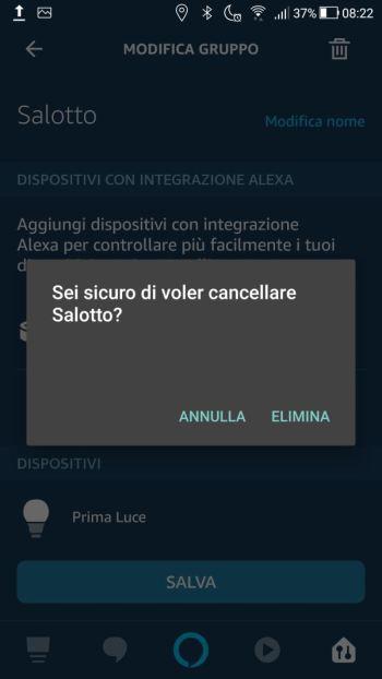Amazon Alexa - App - Messaggio conferma cancellazione Gruppo Salotto