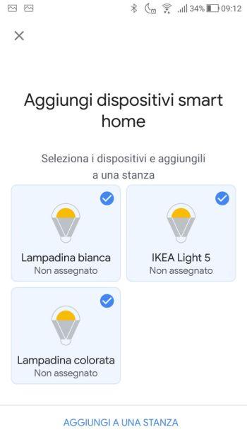 Ikea TRÅDFRI - App - Google Home - Selezione Dispositivi