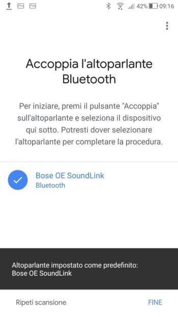 Google Home - Impostazioni audio - Accoppia l'altoparlante Bluetooth - Associato