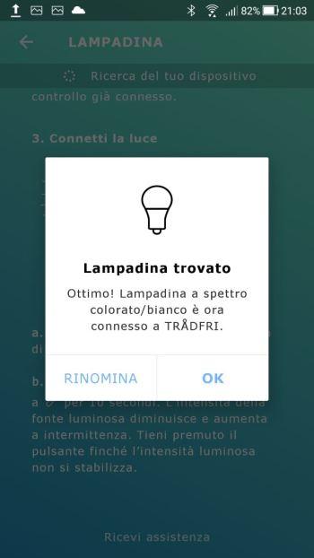 Ikea TRÅDFRI - App - Lampadina trovata