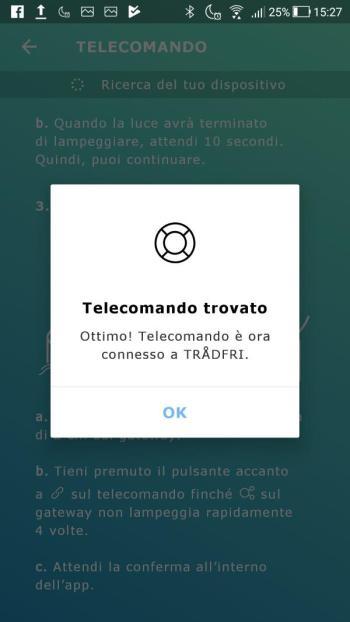 Ikea TRÅDFRI - App - Telecomando Trovato