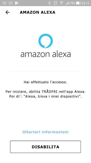 IkeaTRÅDFRI - App - Integrazione Amazon Alexa - Accesso effettuato