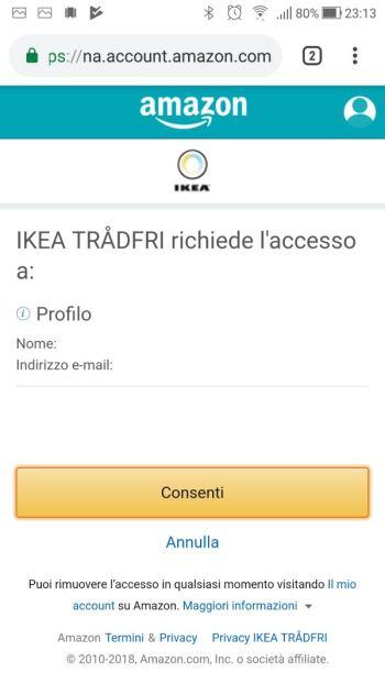 IkeaTRÅDFRI - App - Integrazione Amazon Alexa - Richiesta accesso al profilo