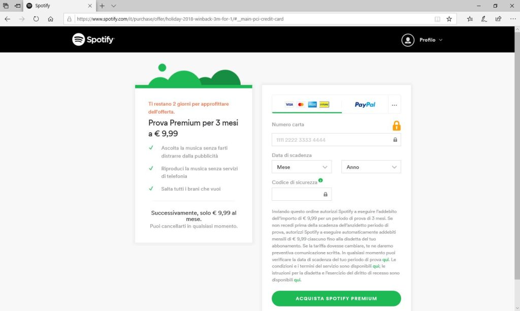 Spotify - Browser - Inserimento estremi pagamento Premium