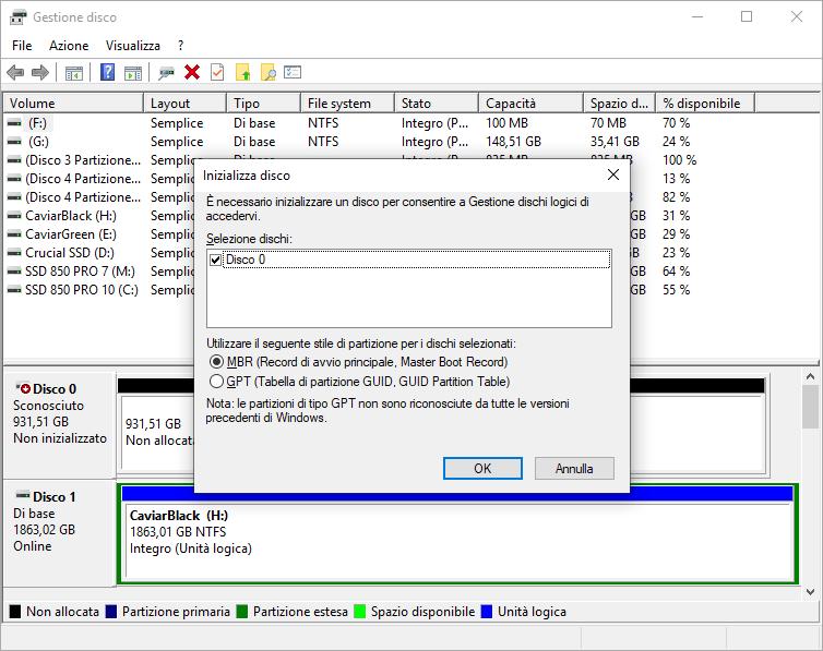 Windows 10 - Gestione Disco - Inizializzazione