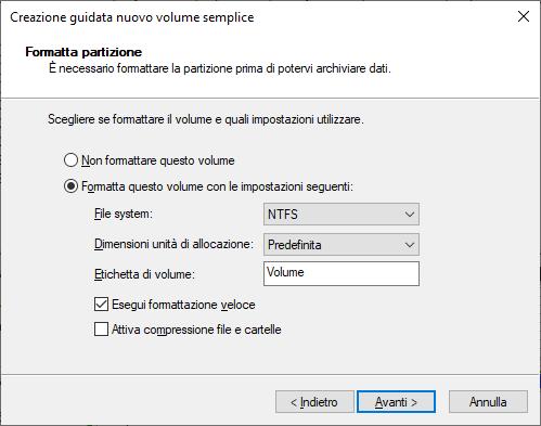 Windows 10 - Gestione Disco - Nuovo Volume Semplice - Formattazione