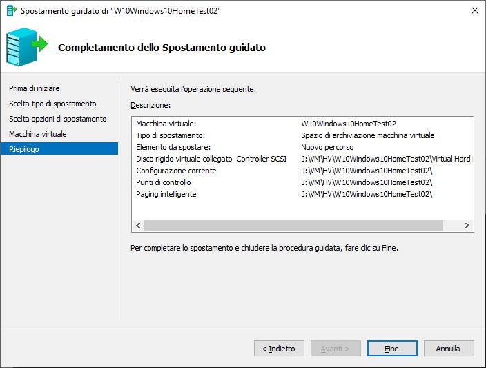Windows 10 - Hyper-V - Completamento spostamento guidato
