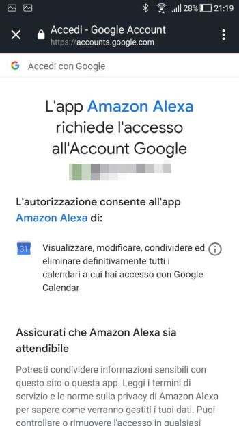 Amazon Alexa - Calendario - Account selezionato