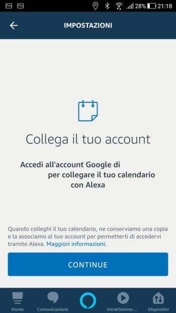 Amazon Alexa - Calendari - Collega account Google