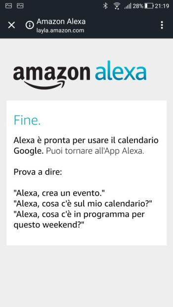 Amazon Alexa - Calendario Google Collegato