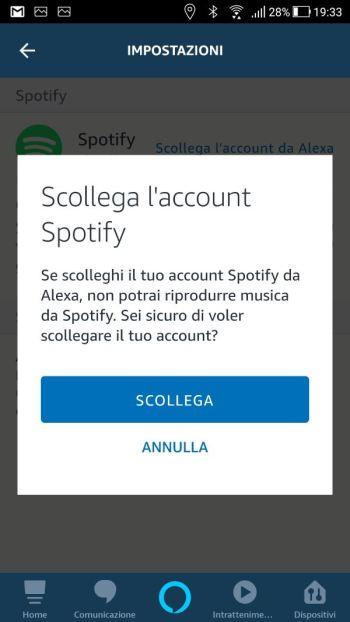 Amazon Alexa - App - Impostazioni - Musica - Spotify Scollega