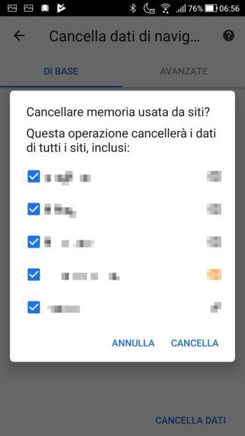 Google Chrome - Android - Cronologia - Cancella - Siti