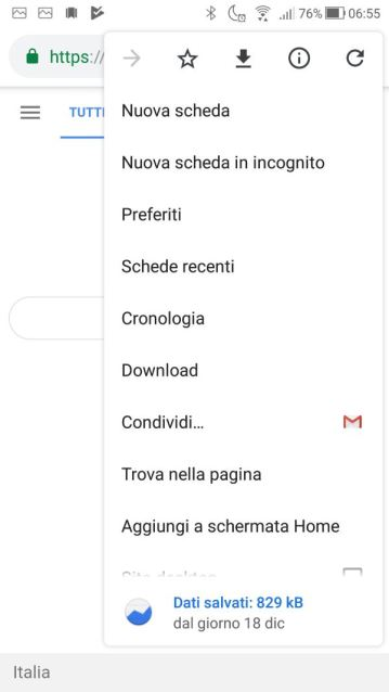 Google Chrome - Android - Menù contestuale