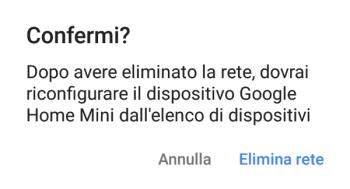 Google Home - Confermi Eliminazione Rete