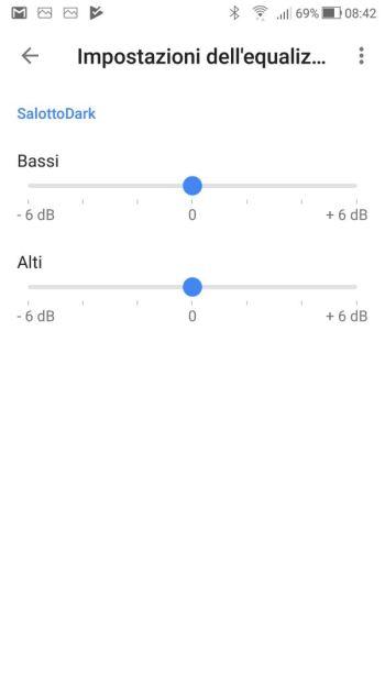 Google Home - Impostazioni dell'equalizzatore