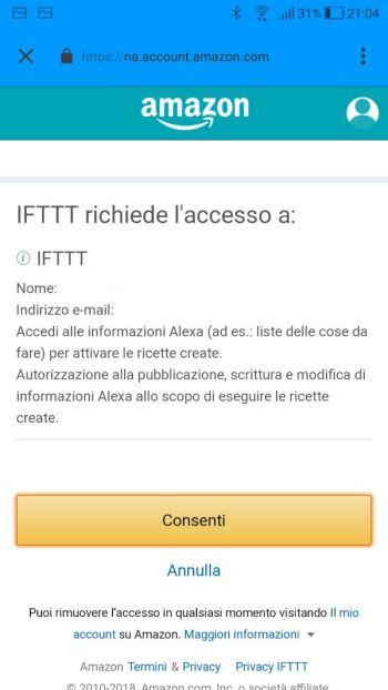 IFTTT - App - Applets - Amazon Alexa - LogIn - Conferma dati