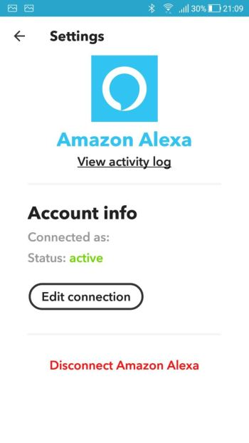 IFTTT - Applet Amazon Alexa - Configurazioni