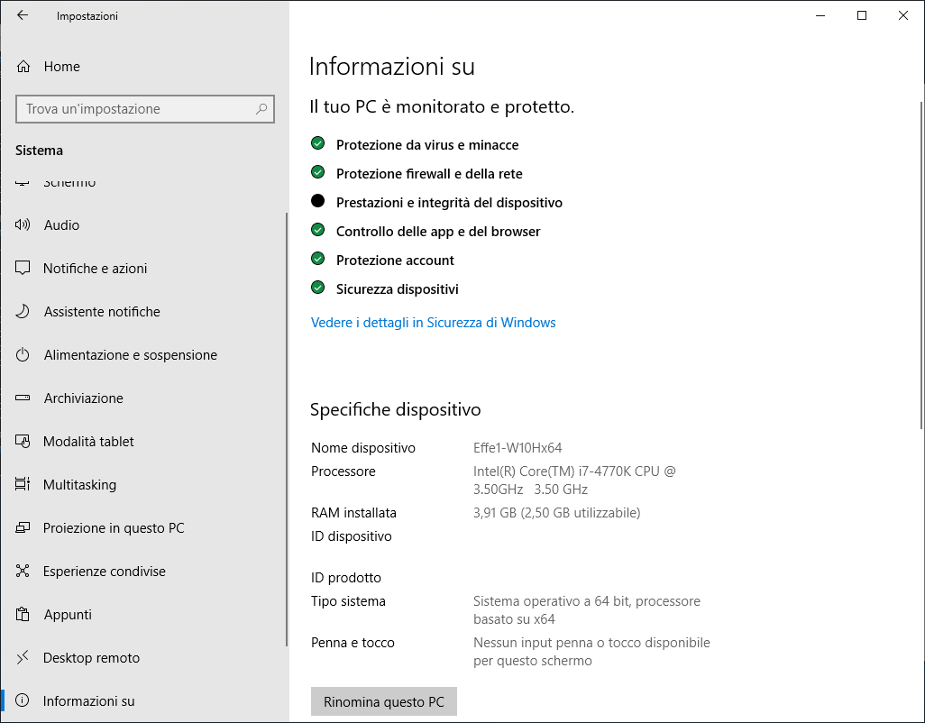 Windows 10 1809 - Sistema - Informazioni Su