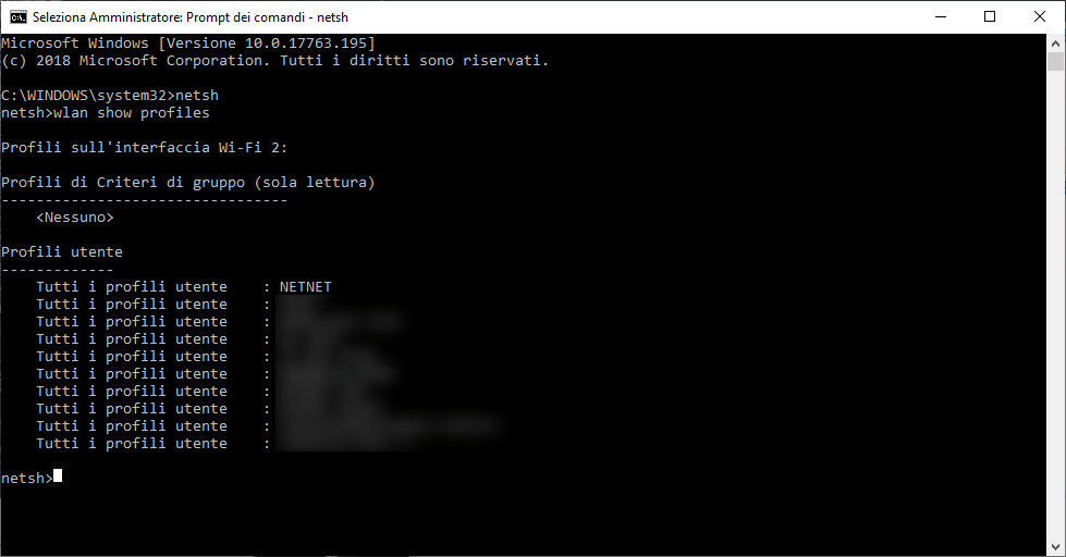 Windows - Dos - netsh show profile