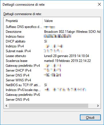 Windows 10 - Dettagli scheda di rete