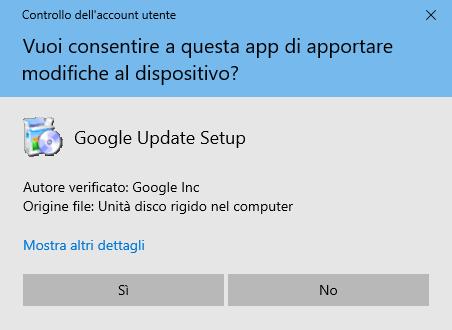 Google Chrome - Conferma Installazione