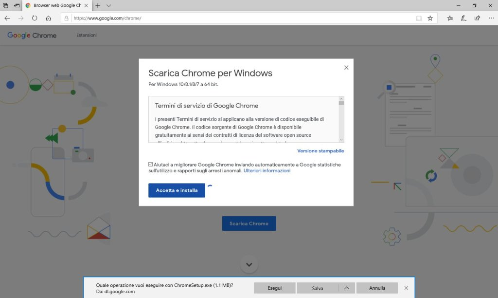 Google Chrome - Download in corso