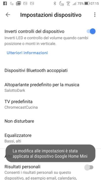 Google Home - Controlli dispositivo invertiti