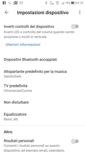 Google Home - Inverti controlli dispositivo