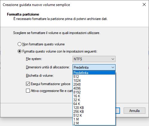 Windows 10 - Formattazione Disco - Scelta Dimensione allocazione