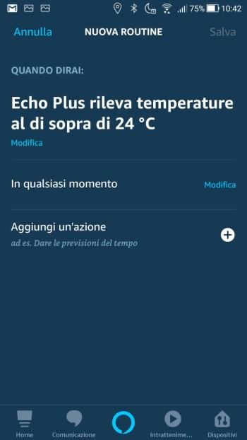 Amazon Alexa App - Maschera quando questo accade - Dispositivo Temperatura Impostata