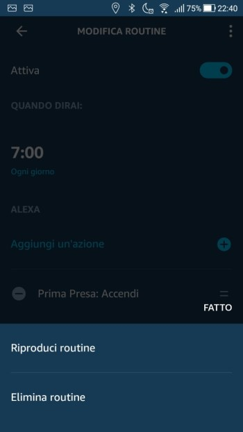Amazon Alexa App - Menù contestuale routine