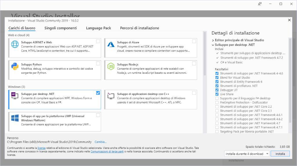 Microsoft Visual Studio 2019 - Installazione - Carichi di lavoro Configurato