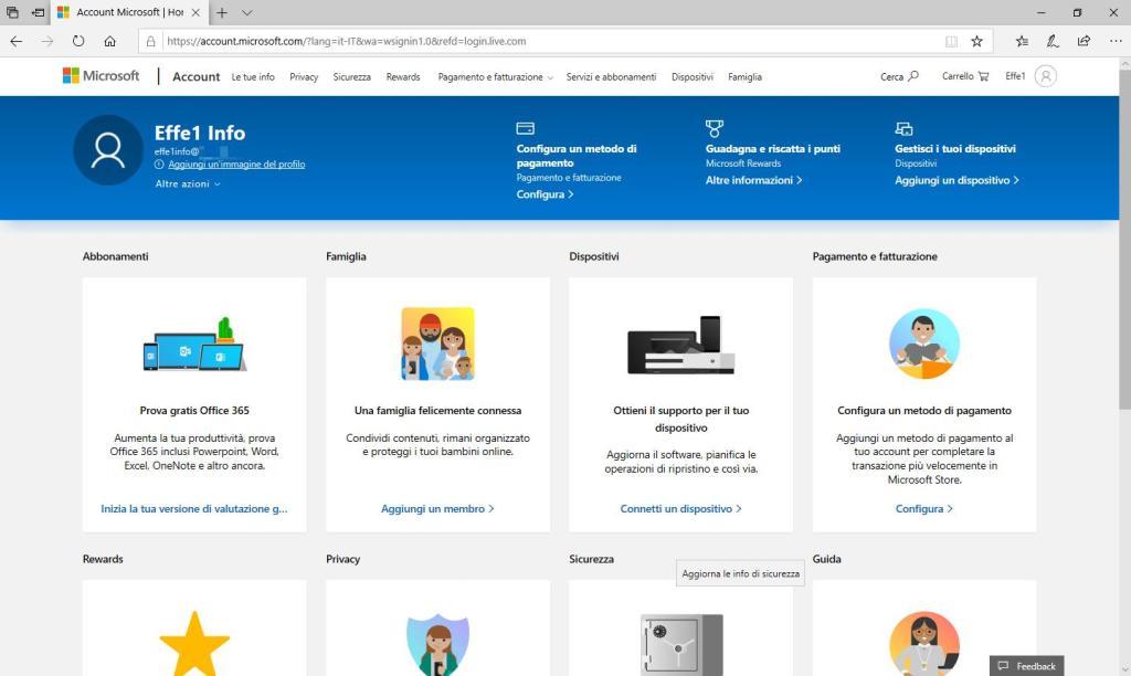 Microsoft Sigup Live - Account creato