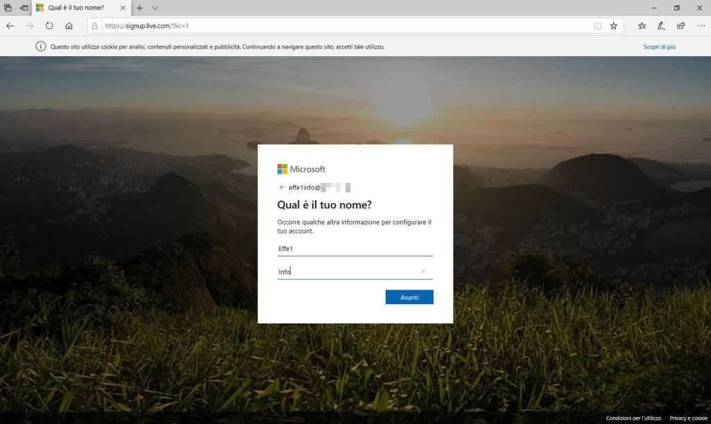 Microsoft Sigup Live - Crea account - Quale è il tuo nome? Compilato