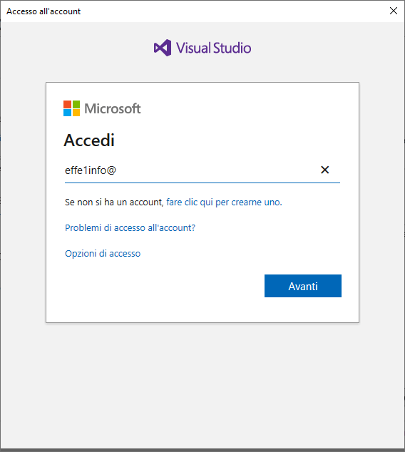 Microsoft Visual Studio 2019 - Accedi a Visual Studio - Inserire Account - Email Compilata