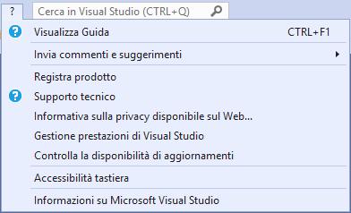 Microsoft Visual Studio 2019 - IDE - Menù Help