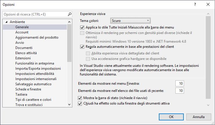 Microsoft Visual Studio 2019 - IDE - Opzioni - Tema Scuro selezionato