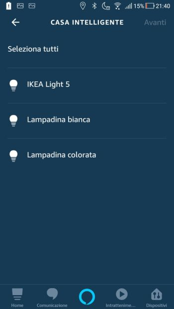 Amazon Alexa App - Routine - Maschera Casa Intelligente - Lampadine