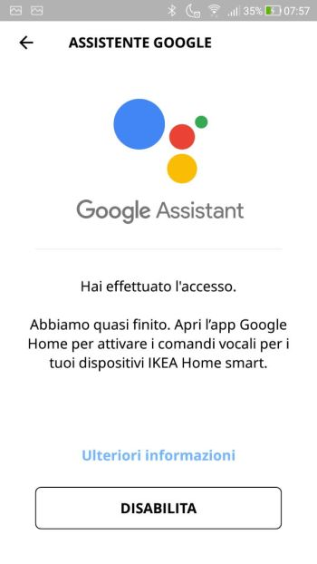 App IKEA Home Smart - Assistente Google - Disabilita