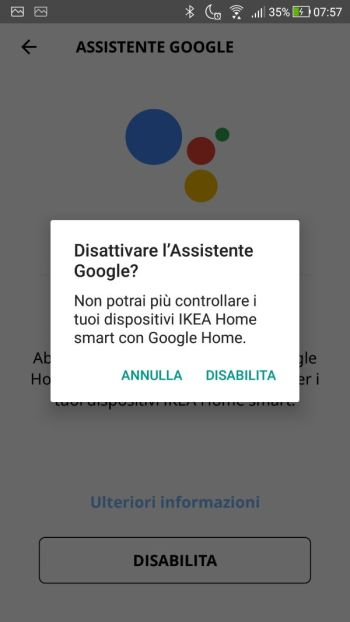App IKEA Home Smart - Assistente Google - Disabilita Premuto