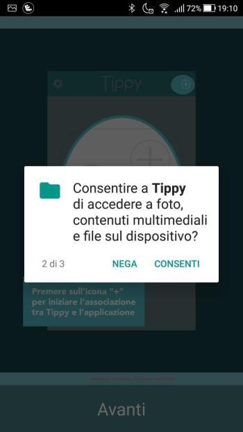 Tippy - Richiesta accesso a foto, contenuti multimediali e file sul dispositivo
